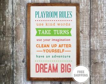 Playroom rules sign, Kids playroom decor, Wood sign, Playroom wall decor, Children's wall art, Playroom decor, Playroom signs, Playroom art