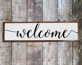 Welcome sign for front porch, Home decor signs, Living room wall decor, Large wood welcome sign for entryway Hand painted signs Wall hanging