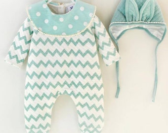 Green and cream baby girl outfit with matching hat
