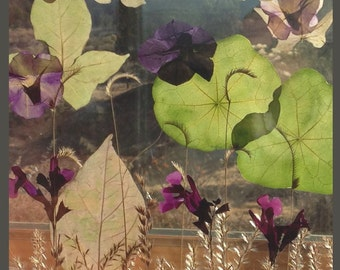 Green and purple field gorgeous bird window alert Easter gift pressed leaves grass flowers Nature lover suncatcher like stained glass