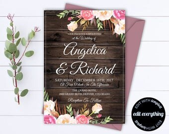 Rustic Floral Wedding Invitation Template - Barn Wedding Template - Floral Wedding Printable Invitation - Rustic Invitation Wedding Template