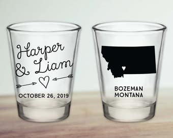 Custom Montana Wedding Favor Shot Glasses