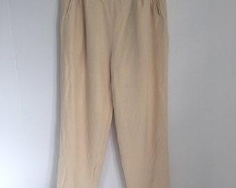 Vintage Cream Silk Pleated Trousers Pants 2