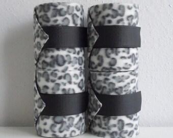 Gray black white leopard fleece polo wraps horse size set of 4