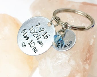 Newborn Gift, Mom Gift, Gift for New Parents, Personalized Newborn Key Chain