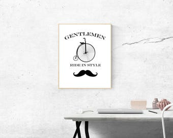 Hipster Cycle Mustache instant download