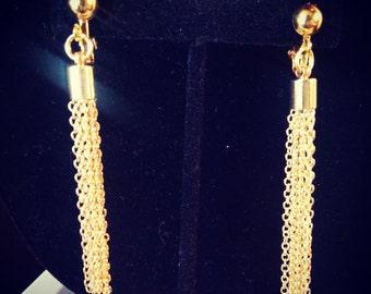 "Gold tassel clip-on or pierced earrings  ""Tassel Me (Gold)"""