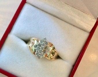 Diamonds 14K classic yellow gold ring