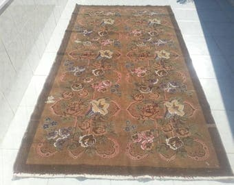 Oushak Rug 8'7x4'8 ft Turkish Anatolian wool Carpet, Faded Capadocia Anatolian wool Carpet, Overdyed Rug, Vintage Home Decor,Flowered Carpet