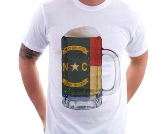 North Carolina State Flag Beer Mug Tee, Unisex, Home Tee, State Pride, State Flag, Beer Tee, Beer T-Shirt, Beer Thinkers, Beer Lovers Tee