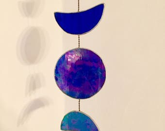 "Stained glass sun catcher ""moonphase"", handmade, blue iridescent glass, 35 x 10 cm"