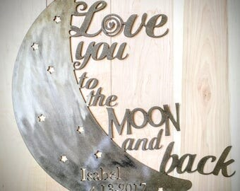Love you to the Moon and back baby shower wedding gift nursery baby newborn Wife Metal decor love family Wall Hanging quotes Kids child room