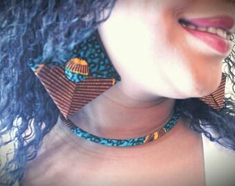 Blue Yakanyanya Ankara Choker - African Necklace - Fabric Covered Choker - Africa Choker - Africa Jewelry