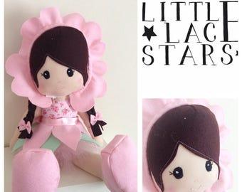 Handmade Doll, soft body doll, large plush doll, flower doll, large doll, gift for her, baby girl gift, modern doll