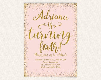 Girls fourth birthday party invite, 4th birthday invitation, blush pink and gold glitter confetti, digital printable invite 5x7 56