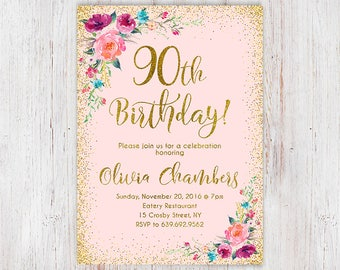 Any Age Women Birthday Invitation, 90th Birthday Invitation, Floral Pink and Gold Women Birthday Invitation, Boho Birthday Invite 112