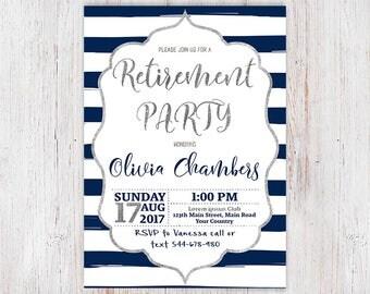 ruhestand einladungen bedruckbare silber & marineblau, Einladung
