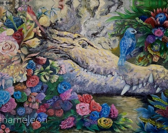 The Croc and the Blue Bird: mjchameleon ORIGINAL PAINTING 24x36 inches