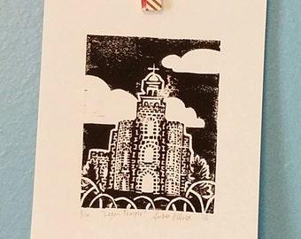 3×4 Linocut print of the Logan Temple