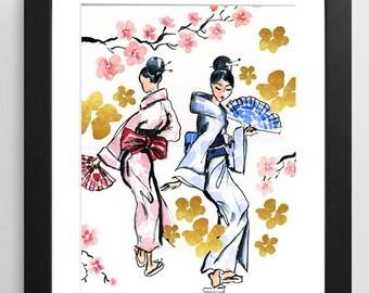Geisha Fashion Illustration, Geisha Art Print, Watercolor Print, Gold Paint, Japanese Art Print