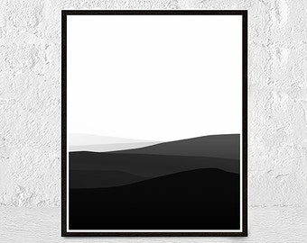 Landscape Art Print, Mountain Art, Black White Print, Abstract Landscape Print, Minimalist Print, Modern Home Decor