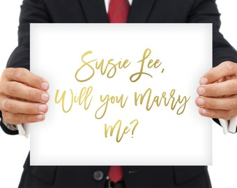 CUSTOM Proposal - Will You Marry Me Sign - Golden Unique Marriage Proposal Engagement - Choose your Own Words & Colors - PRINTED sign or PDF