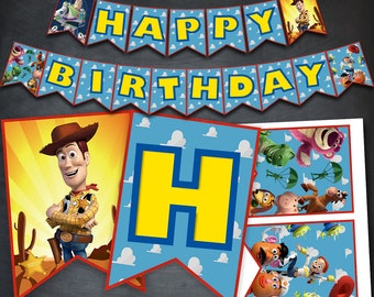 Toy Story Birthday Banner, Toy Story Happy Birthday Banner, Printable Banner, Woody Banner, Toy Story Party, Toy Story Banner Flags