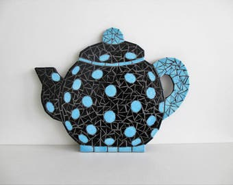 Black & blue mosaic teapot