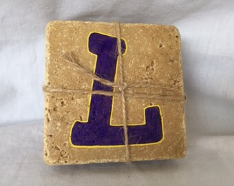 Hand Painted Purple & Gold Initial L Coasters