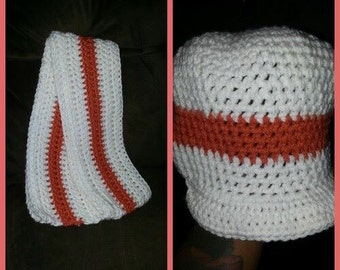Brim hat with scarf