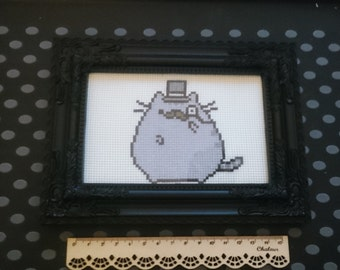 Pusheen Gentleman Kitty Completed Cross Stitch Design In Black Damask Frame