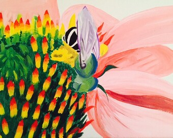 Bee; flower; pollen; painting; canvas; art; insect; outdoor