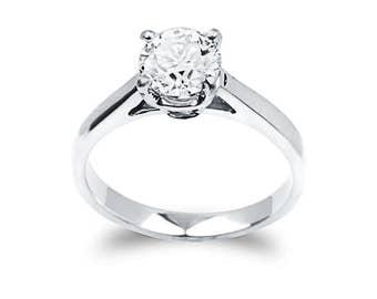 1.04 Carat Round Cut Diamond Solitarie Engagement Ring In 14k White Gold