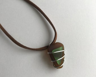 Hawaiian Sea Glass & Brown Leather Strap Necklace