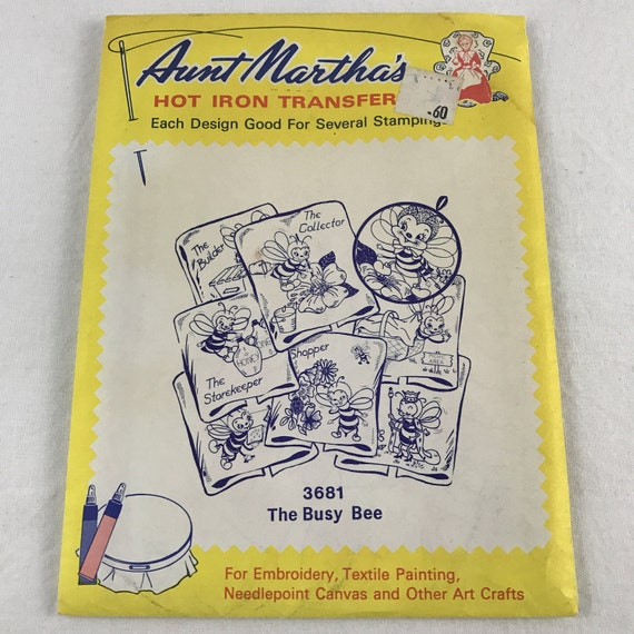 Aunt martha s hot iron transfers the busy bee vintage