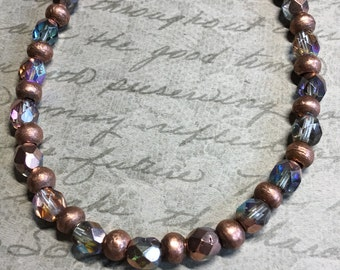 copper and crystal bracelet