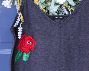 Upcycled Hand Embroidered Rose Tank- S