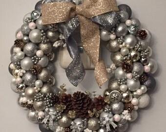 Shiny Pines Ornament Wreath