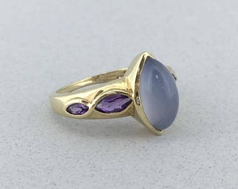 Stunning Solid 14k Yellow Gold Lavender Jade and Amethyst Ring! Size 7!