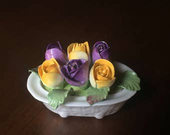 Ansley white vase w/ purple and yellow tulips