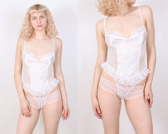 Vintage 80s Teddy  // Lace Lingerie Ruffle One Piece Sheer Pin Up - Small