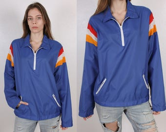 80s Windbreaker Jacket // Vintage Blue Striped Jacket Pullover Mens Womens - Medium to Large