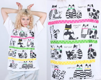 90s Cat T Shirt // Vintage Striped Animal Graphic Tee Retro - Small Medium Large xl