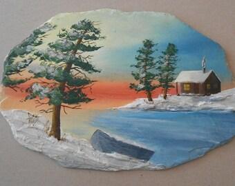 Snowy Landscape of Cabin on Slate