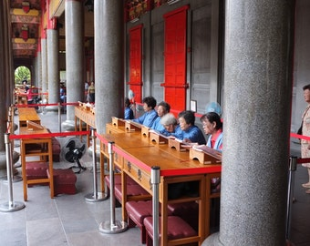 Tai Pei Temple, Vibrant Colour Photograph of Traditional Temple In Tai Pei, Poster of People Outside Tai Pei Temple, Fine Art Print
