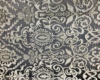 Ivory Embroidered & Heavily Beaded Lace Fabric Available By The Yard