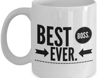 Cool Coffee Mug for Boss - Best Boss Ever - Unique gift mug for him, her, mom, dad, kids, husband, wife, boyfriend, men, women