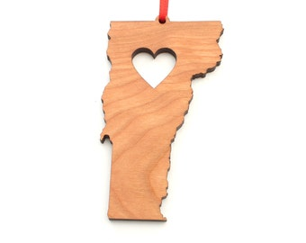 Heart Vermont Christmas Ornament - VT State Shape Ornament with Christmas Heart Cutout - Vermont Ornament Design by Heart State Shop