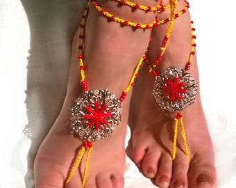 Barefoot Sandals, Yellow Red Barefoot Beach Jewelry
