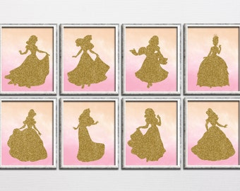 Disney princess inspired printable gold sparkle and pink watercolor nursery decor, girl playroom gold glitter wall art kids room download